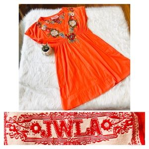 Johnny Was JWLA Orange Embroidered Tunic Dress